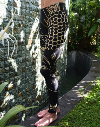 Golden Buddha Leggings by YogaYam, Below the Villa Lotus Pool in Ubud Bali