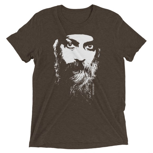 Brown Rajneesh Tshirt (Intense Eyes) by YogaYam. Premium Quality Yoga Clothes and Accessories. Made with Love for You.