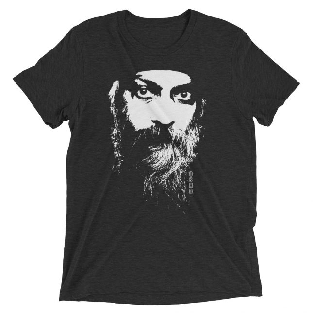 Charcoal Black Rajneesh Tshirt (Intense Eyes) by YogaYam. Premium Quality Yoga Clothes and Accessories. Made with Love for You.