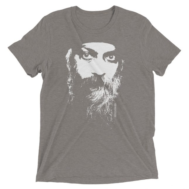 Grey Rajneesh Tshirt (Intense Eyes) by YogaYam. Premium Quality Yoga Clothes and Accessories. Made with Love for You.