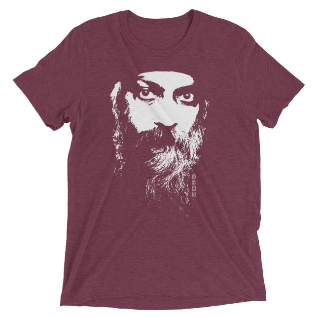 Maroon Rajneesh Tshirt (Intense Eyes) by YogaYam. Premium Quality Yoga Clothes and Accessories. Made with Love for You.