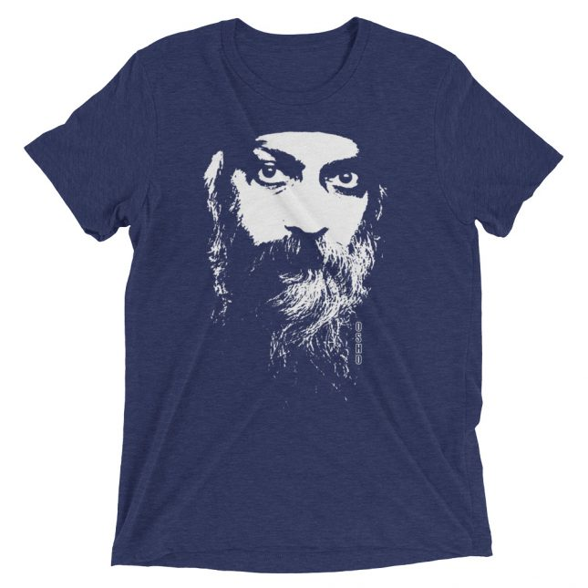Navy Rajneesh Tshirt (Intense Eyes) by YogaYam. Premium Quality Yoga Clothes and Accessories. Made with Love for You.