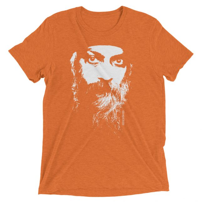 Orange Rajneesh Tshirt (Intense Eyes) by YogaYam. Premium Quality Yoga Clothes and Accessories. Made with Love for You.
