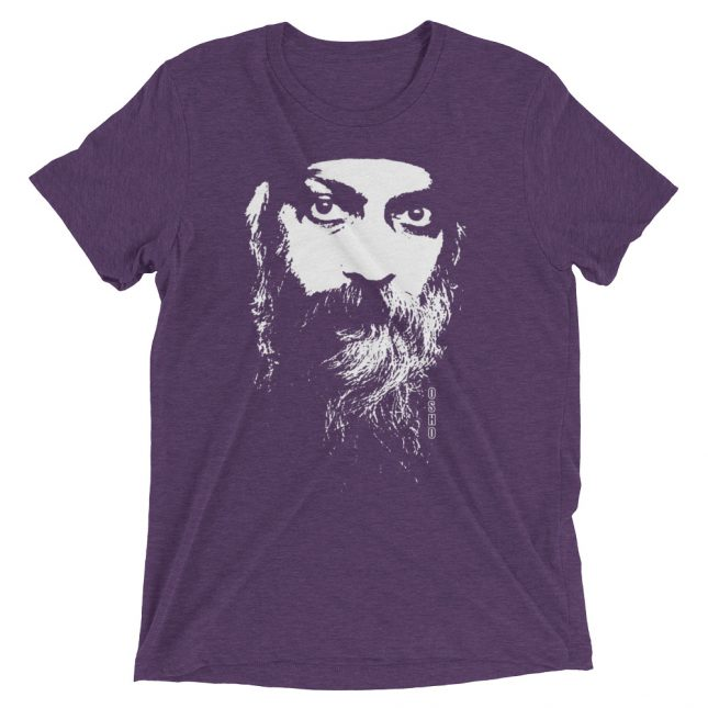 Purple Rajneesh Tshirt (Intense Eyes) by YogaYam. Premium Quality Yoga Clothes and Accessories. Made with Love for You.