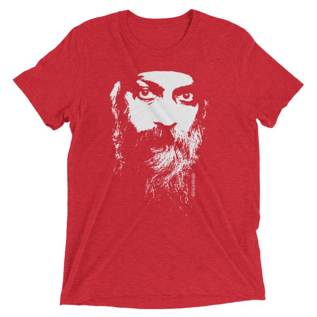 Red Rajneesh Tshirt (Intense Eyes) by YogaYam. Premium Quality Yoga Clothes and Accessories. Made with Love for You.
