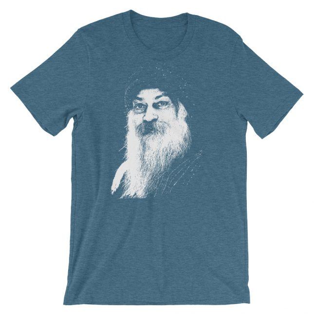 Teal Rajneesh Tshirt (Stencil) by YogaYam. Premium Quality Yoga Clothes and Accessories. Made with Love for You.