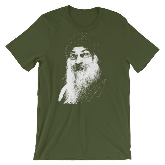 Olive Rajneesh Tshirt (Stencil) by YogaYam. Premium Quality Yoga Clothes and Accessories. Made with Love for You.