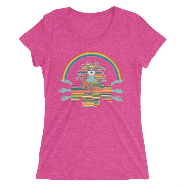 Pink Hippie T-shirt by YogaYam