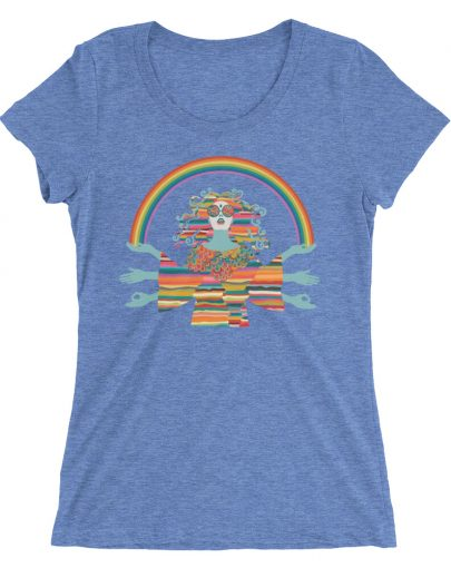 Blue Hippie T-shirt by YogaYam